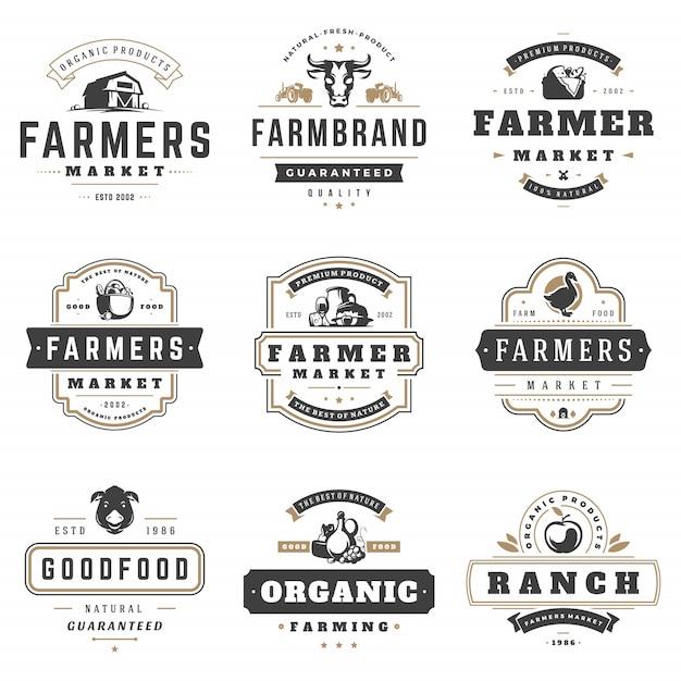 Boeren markt logo's sjablonen vector objecten instellen. Premium Vector