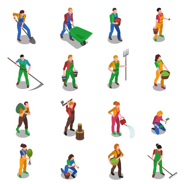 Boeren op het werk isometrische icons set Gratis Vector