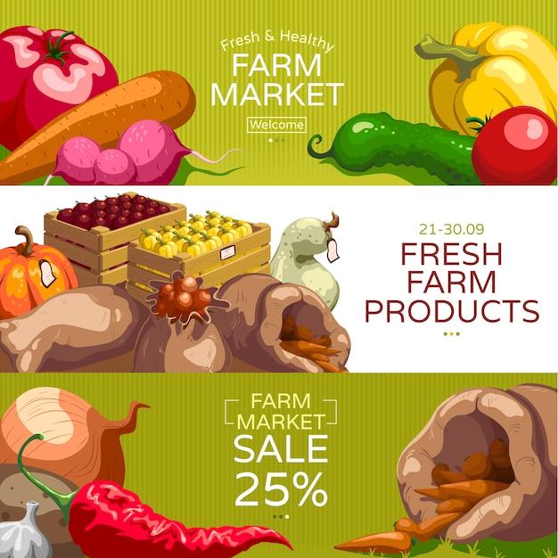 Boerenmarkt horizontale banners instellen Gratis Vector