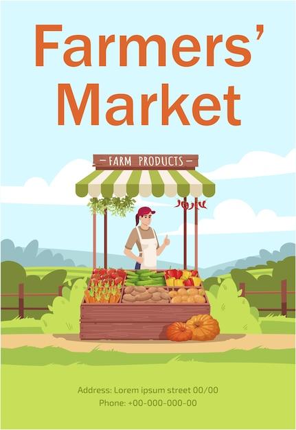 Boerenmarkt poster sjabloon Premium Vector