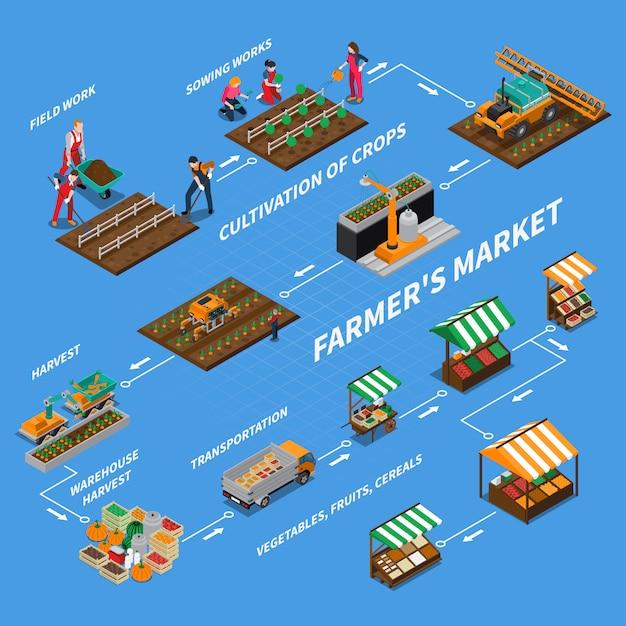 Boerenmarkt stroomdiagram concept Gratis Vector