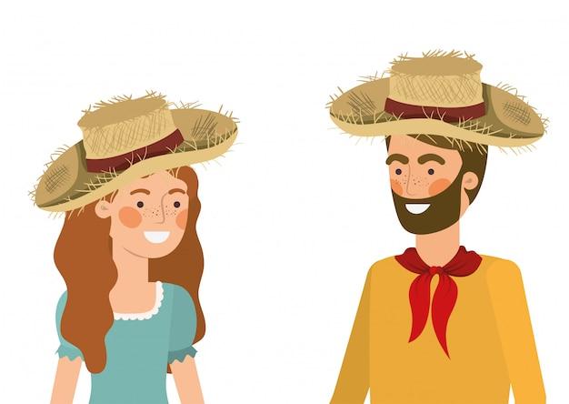 Boerenpaar praten met strohoed Premium Vector