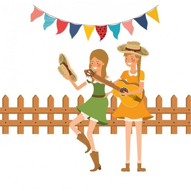 Boerenvrouwen met muziekinstrument Gratis Vector