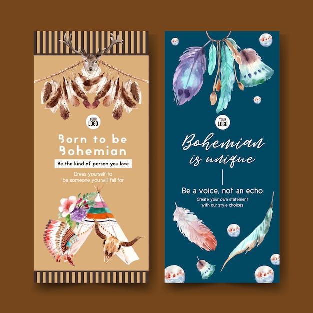 Boheemse flyer ontwerpen met tent, bloem, veer aquarel illustratie. Gratis Vector