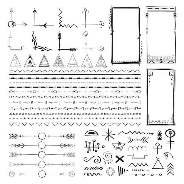 Boho hand tekenen doodle collectie vector illustratie Gratis Vector
