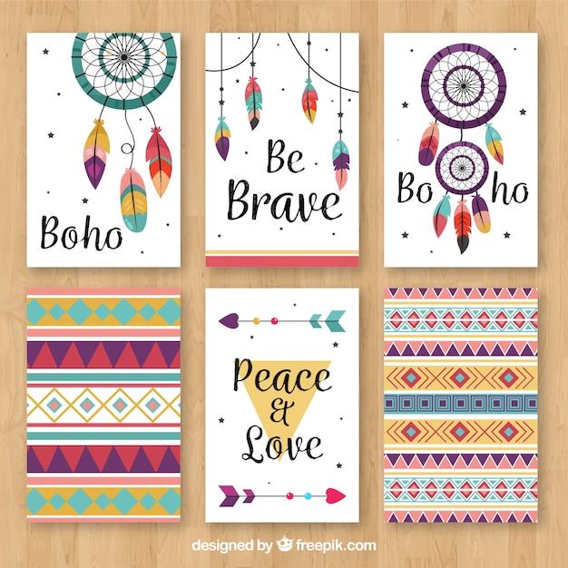 Boho-kaartencollectie met hippie-elementen Gratis Vector