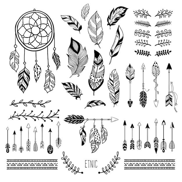 Boho kunst. tribal pijl veer, boheemse bloemen rand en hippie mode frame-elementen instellen Premium Vector