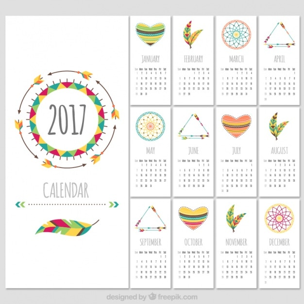 Boho stijl 2017 kalender template Gratis Vector