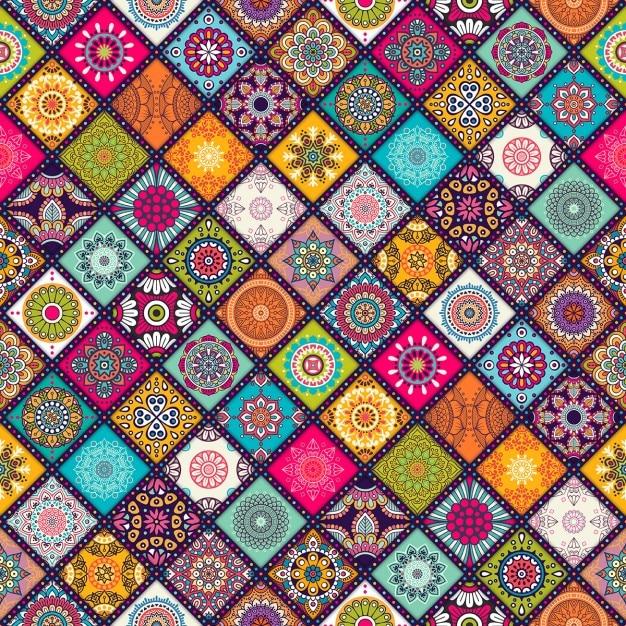 Boho stijl patroon Gratis Vector