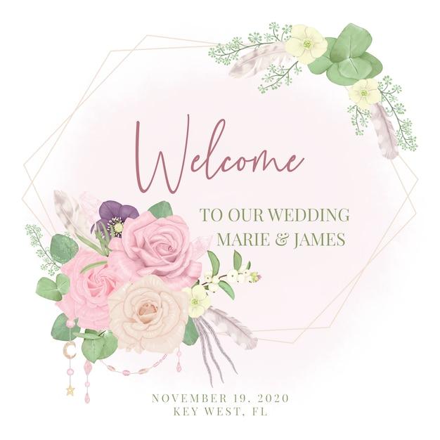 Boho welkom huwelijksteken Premium Vector