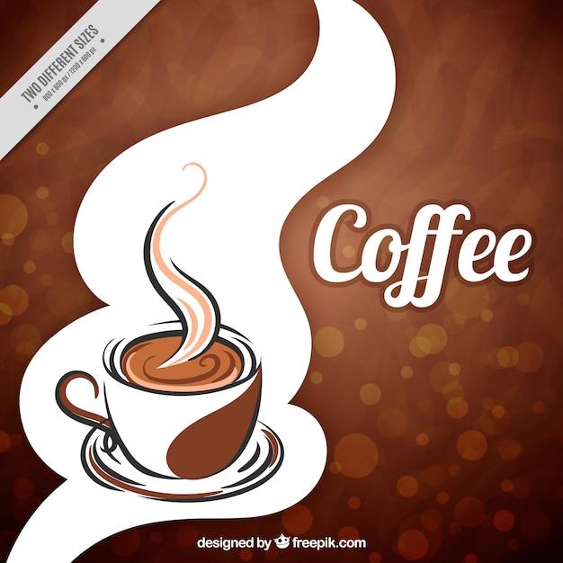 Bokeh achtergrond koffie mokken Gratis Vector