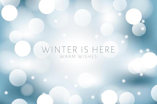 Bokeh lichten op winter achtergrond Premium Vector