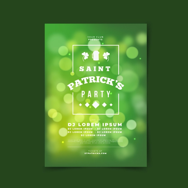 Bokeh st. patricks dagaffiche in gradiënt groene tonen Gratis Vector