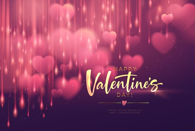 Bokeh wazig hartvorm glanzend luxe voor valentijnsdag gefeliciteerd. Gratis Vector