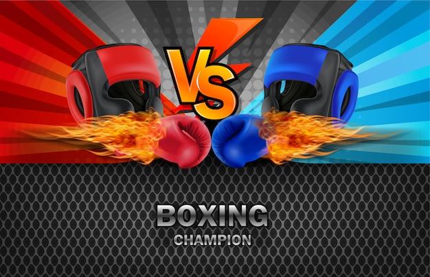Boksen blauwe en rode vechtraadachtergrond. Premium Vector