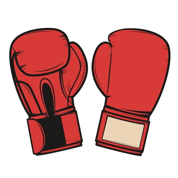 Bokshandschoenen op witte achtergrond. element voor logo, label, embleem, teken, badge. illustratie Premium Vector