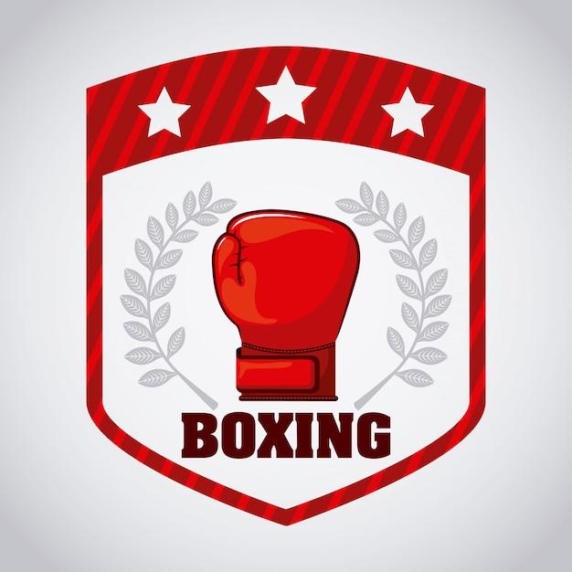 Boksschild logo grafisch ontwerp Gratis Vector