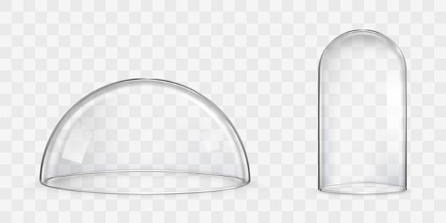 Bolvormige glazen koepel, stolp realistische vectoren Gratis Vector