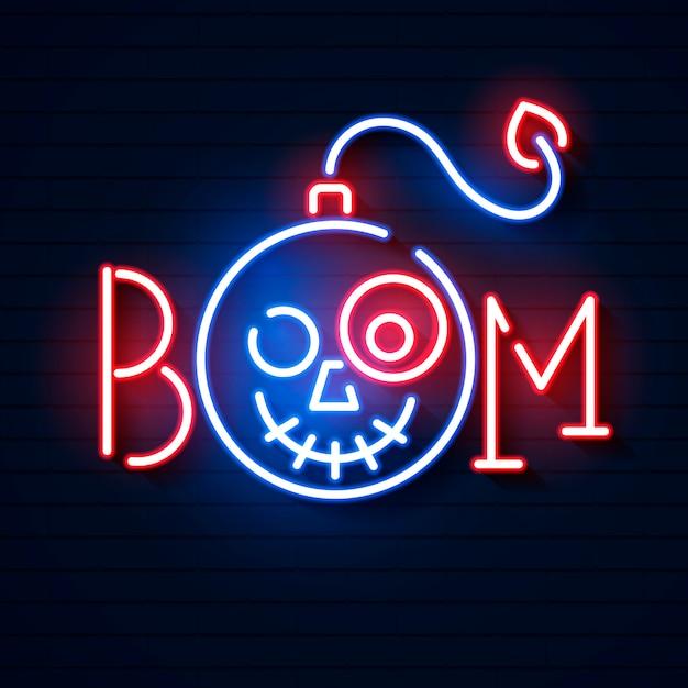 Bom blauw gloeiend neon pictogram Premium Vector