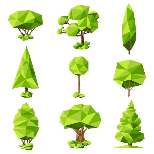 Bomen abstracte pictogrammen instellen Gratis Vector
