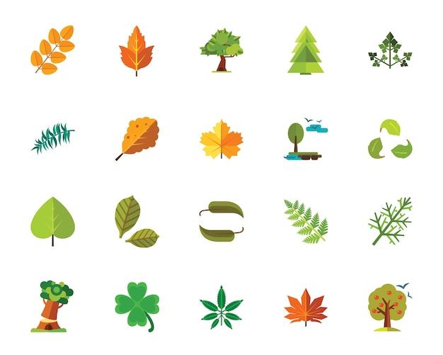 Bomen en bladeren pictogramserie Gratis Vector