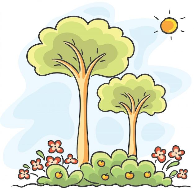 Bomen en bloemen tekenen Premium Vector