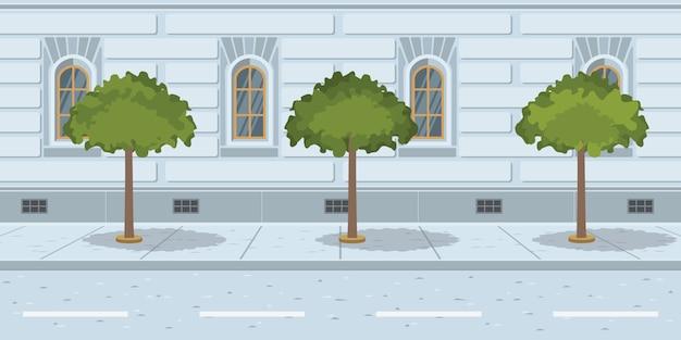Bomen in lijn op stedelijke straat Gratis Vector