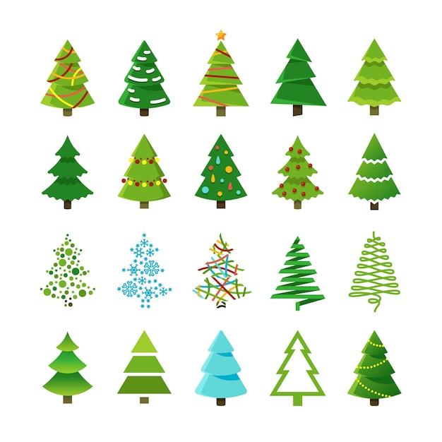 Bomen van beeldverhaal de abstracte kerstmis met giften en ballen vectorreeks Premium Vector