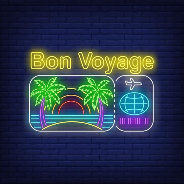 Bon voyage neonbelettering met strand- en vliegticketlogo Gratis Vector