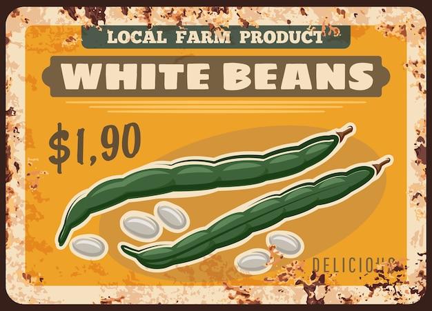 Bonen groenten roestige metalen plaat van de voedselprijs van de boerderijmarkt Premium Vector