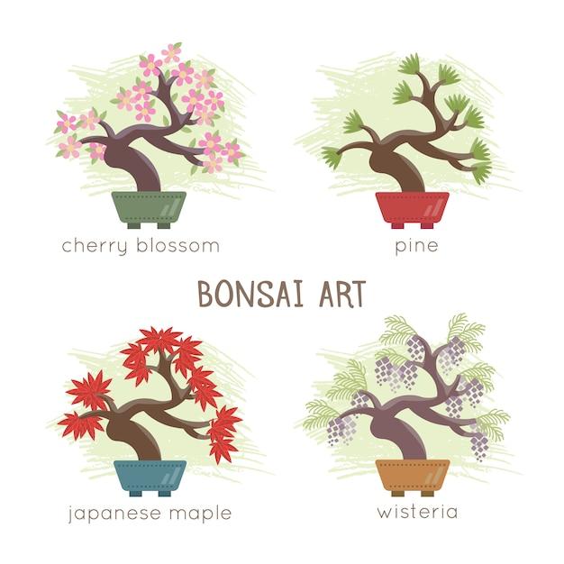 Bonsai design collectie Gratis Vector
