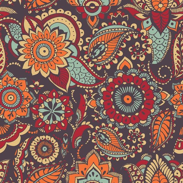 Bont oosters paisleypatroon met kleurrijk motief en mehndi-elementen Premium Vector