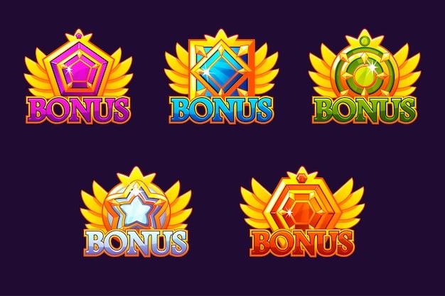 Bonus pictogrammen instellen. kleurrijke sieraden stenen. awards met edelstenen. spelitem voor casino en gebruikersinterface Premium Vector