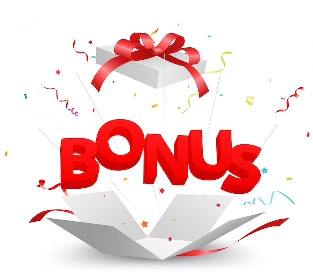 Bonus uit de doos met kleurrijke confetti Premium Vector