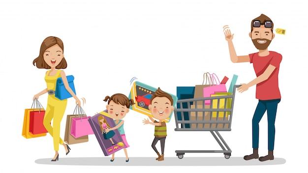 Boodschappen doen. familie winkelen in vakantie. Premium Vector