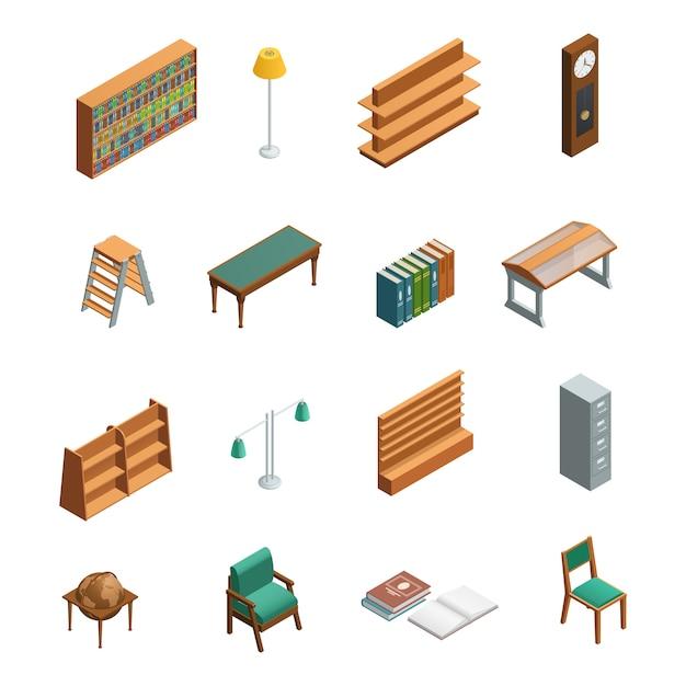 Bookstore en bibliotheek isometrische interieurelementen instellen Gratis Vector