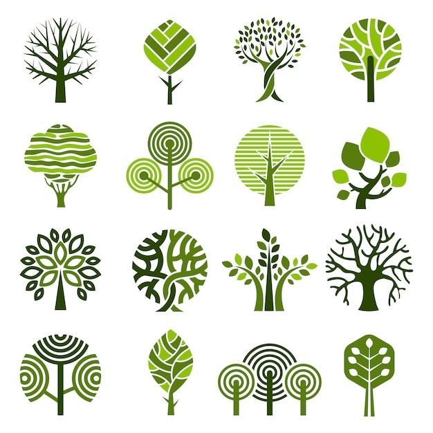 Boom badges. abstracte grafische natuur eco afbeeldingen eenvoudige groei planten vector embleem Premium Vector