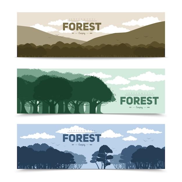 Boom bosdiebanners met verschillende aardscène geïsoleerde vectorillustratie worden geplaatst Gratis Vector