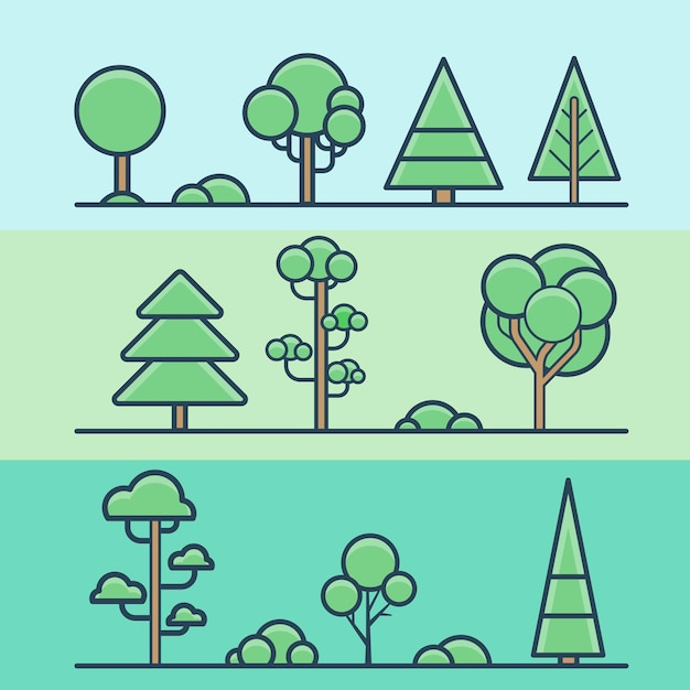 Boom bush park bos geometrische kleurrijke natuur set. lineaire lijn overzicht vlakke stijl iconen. kleur lineart icoon collectie. Gratis Vector