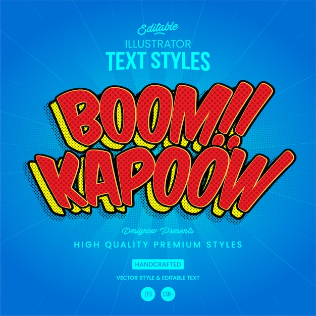 Boom kapoow tekststijl Premium Vector