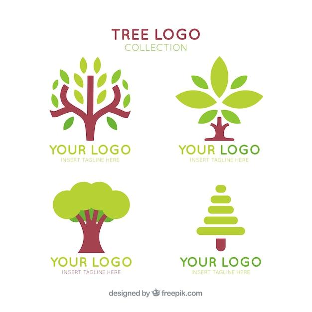 Boom logo's collectie in vlakke stijl Gratis Vector