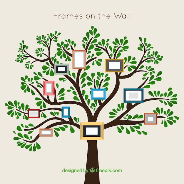 Boom met frames op de muur Gratis Vector