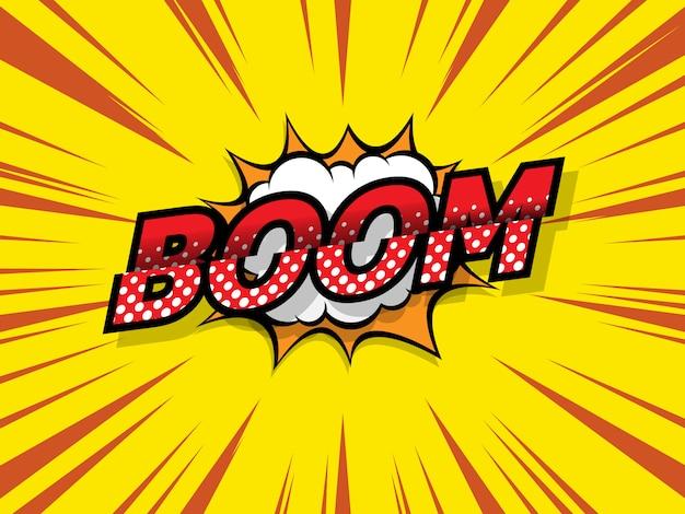 Boom stripboek, pop-artachtergrond Premium Vector