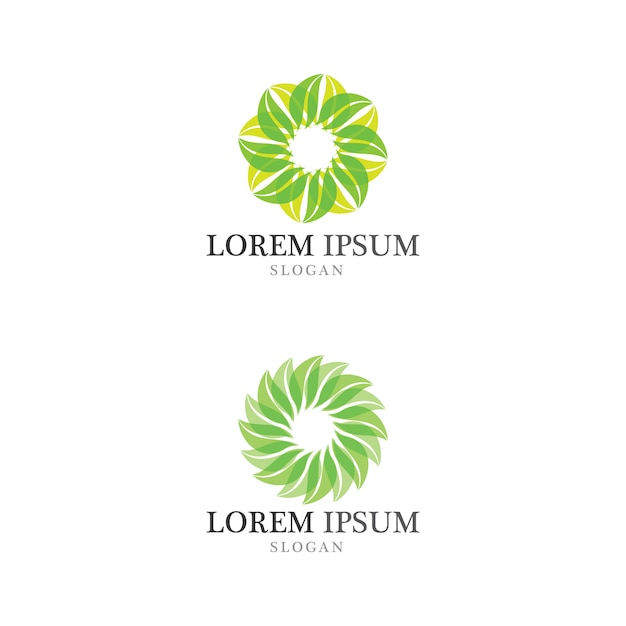Boomblad eco-vriendelijk concept logo Premium Vector