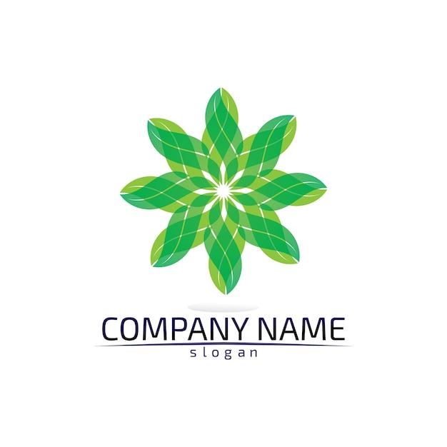 Boomblad milieuvriendelijk logo Premium Vector