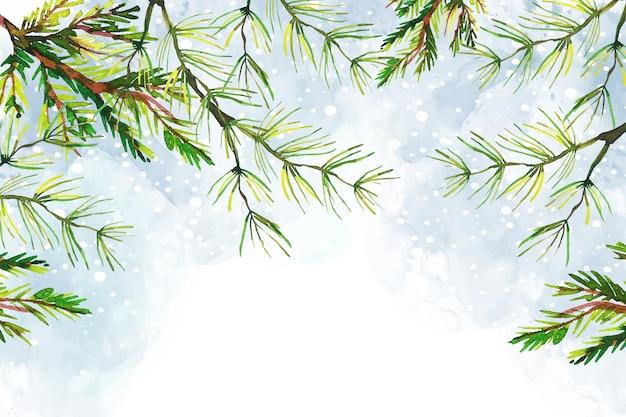 Boomtakken kerstmis aquarel achtergrond Gratis Vector