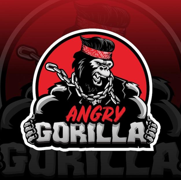 Boos gorilla mascotte logo esport Premium Vector