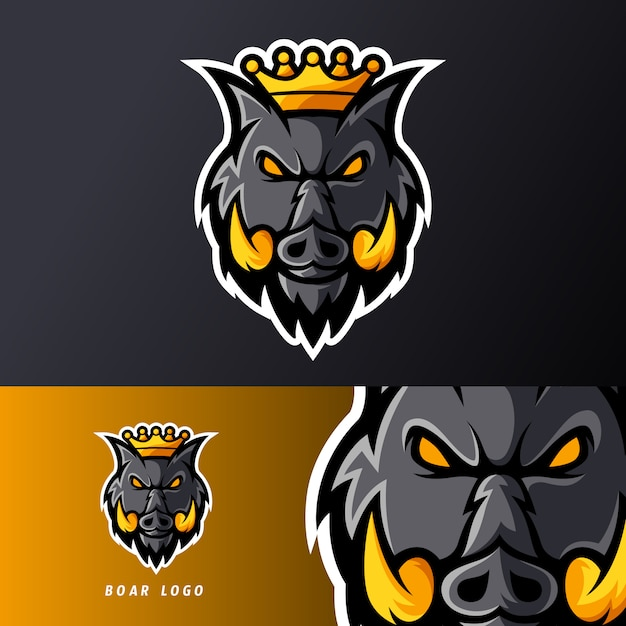 Boos koning zwijn varken dier sport of esport gaming mascotte logo sjabloon voor streamer team Premium Vector