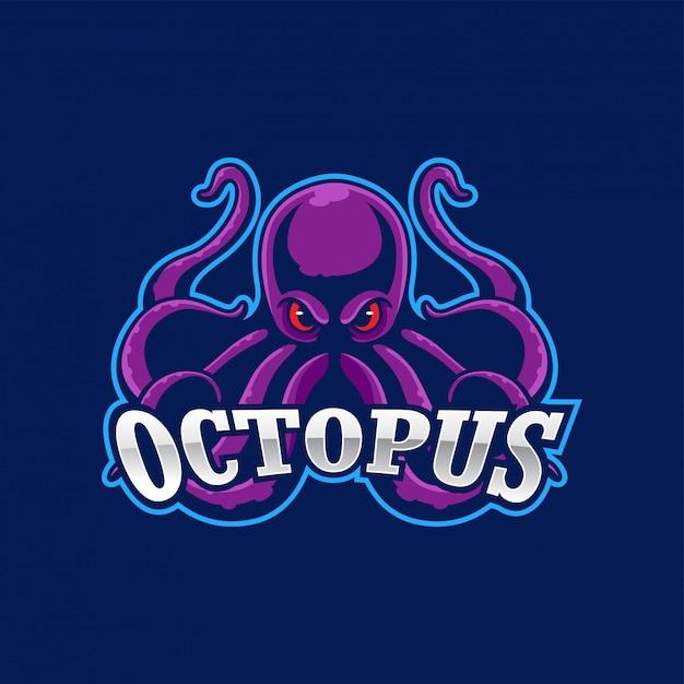 Boos octopus mascotte logo Premium Vector