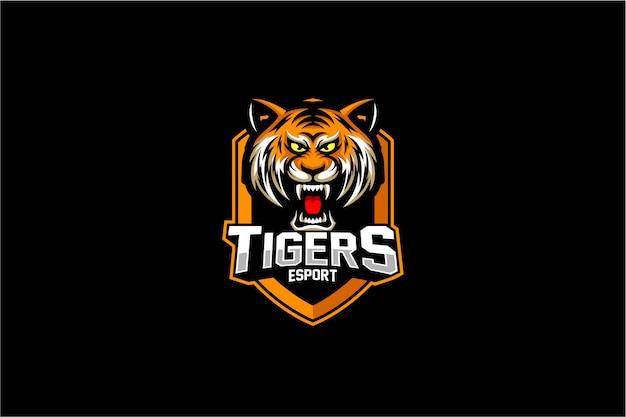 Boos tijger hoofd embleem logo Premium Vector